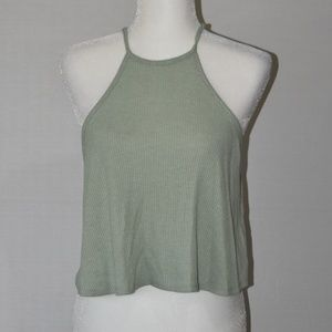 Forever 21 Cropped High Neck Racerback Tank Sz M